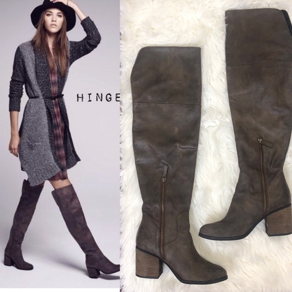 Womens Various Sizes Priced To Sell Hinge Canton Over the Knee Boot Grey-Brown